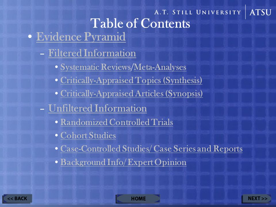 Table of Contents Evidence Pyramid –Filtered InformationFiltered Information Systematic Reviews/Meta-AnalysesSystematic ReviewsMeta-Analyses Critically-Appraised Topics (Synthesis) Critically-Appraised Articles (Synopsis) –Unfiltered InformationUnfiltered Information Randomized Controlled Trials Cohort Studies Case-Controlled Studies/ Case Series and Reports Background Info/ Expert Opinion