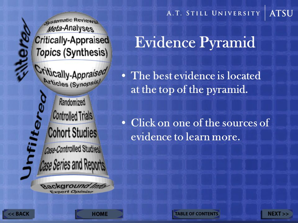 Evidence Pyramid The best evidence is located at the top of the pyramid.