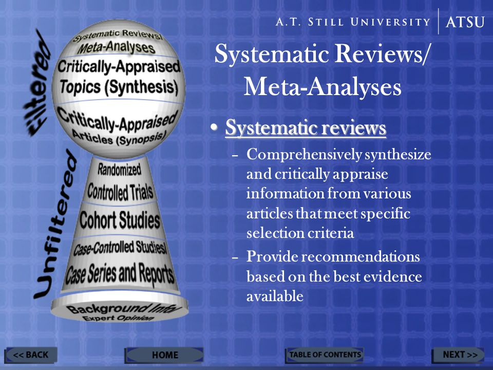 Systematic Reviews/ Meta-Analyses Systematic reviewsSystematic reviews –Comprehensively synthesize and critically appraise information from various articles that meet specific selection criteria –Provide recommendations based on the best evidence available