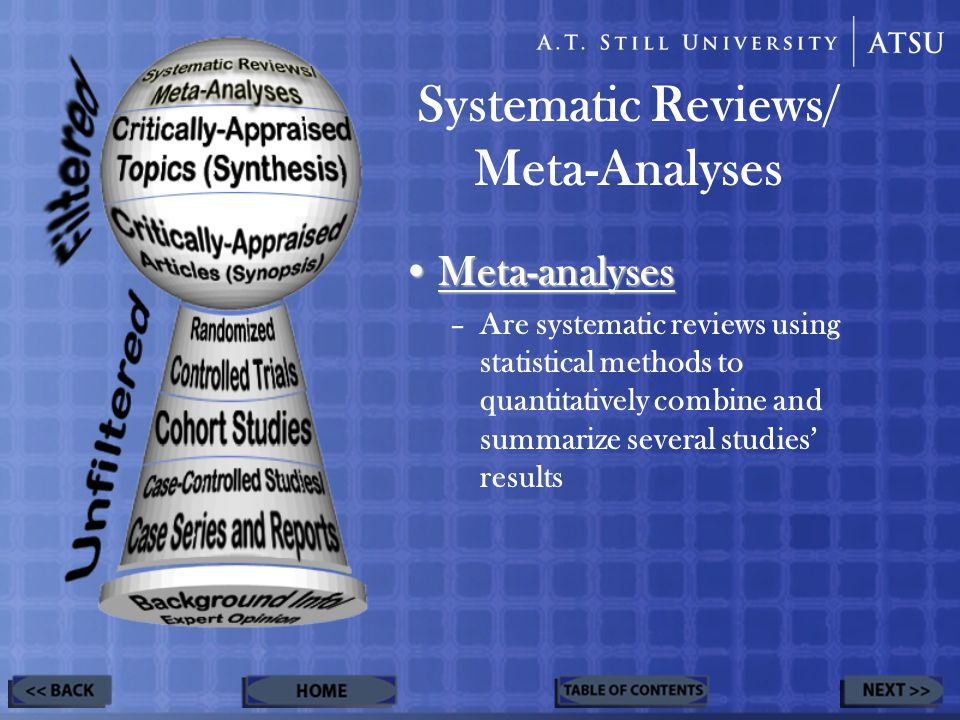Systematic Reviews/ Meta-Analyses Meta-analysesMeta-analyses –Are systematic reviews using statistical methods to quantitatively combine and summarize several studies' results