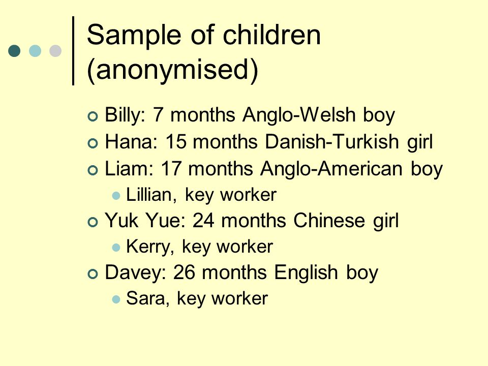 Sample of children (anonymised) Billy: 7 months Anglo-Welsh boy Hana: 15 months Danish-Turkish girl Liam: 17 months Anglo-American boy Lillian, key worker Yuk Yue: 24 months Chinese girl Kerry, key worker Davey: 26 months English boy Sara, key worker