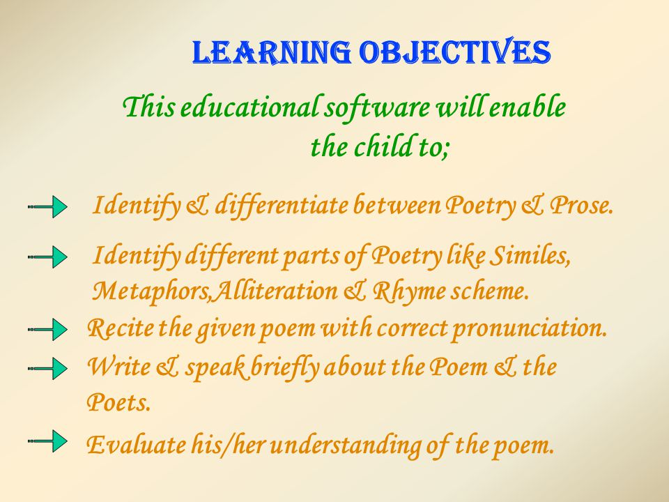 LEARNING OBJECTIVES This educational software will enable the child to; Identify & differentiate between Poetry & Prose.