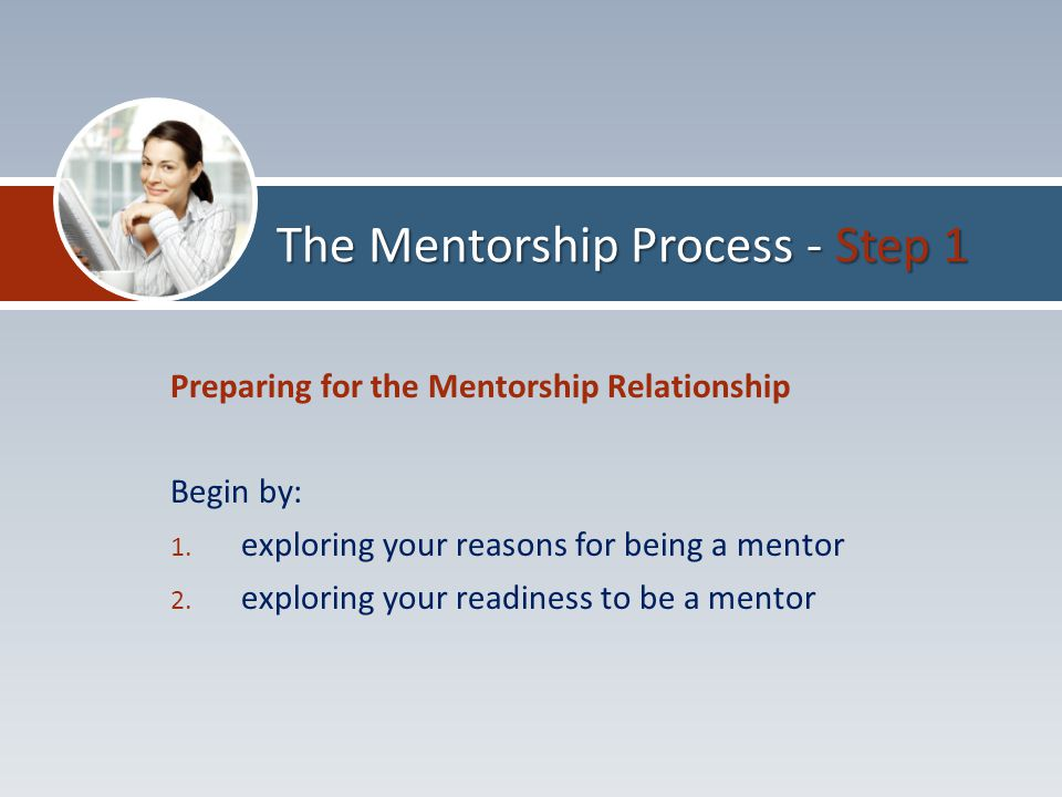 Preparing for the Mentorship Relationship Begin by: 1.