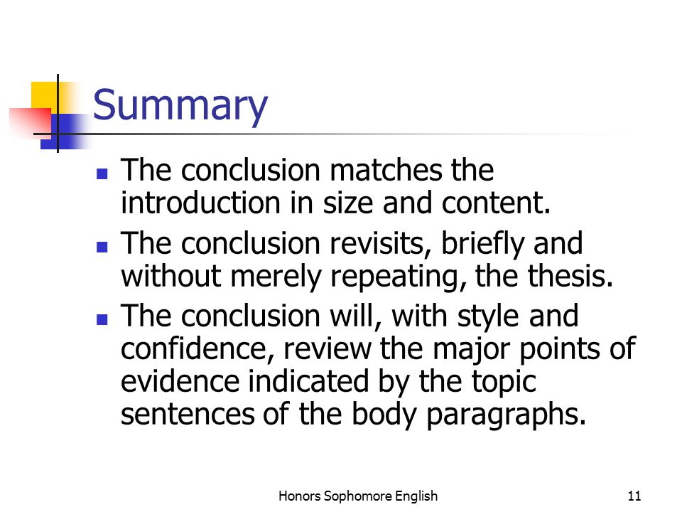Honors Sophomore English11 Summary The conclusion matches the introduction in size and content.
