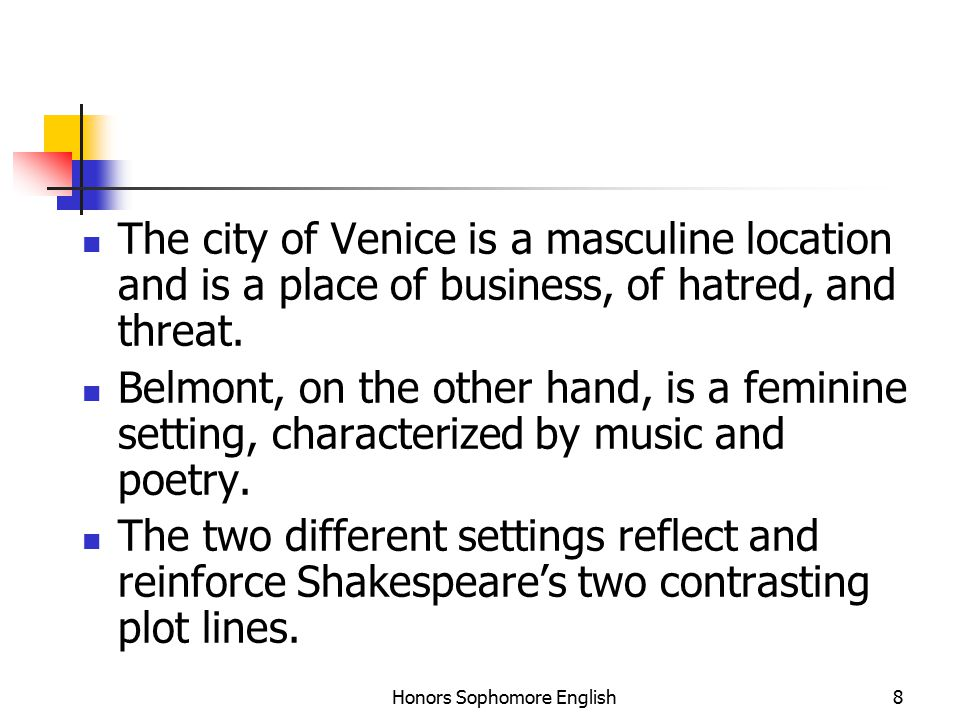 Honors Sophomore English8 The city of Venice is a masculine location and is a place of business, of hatred, and threat.