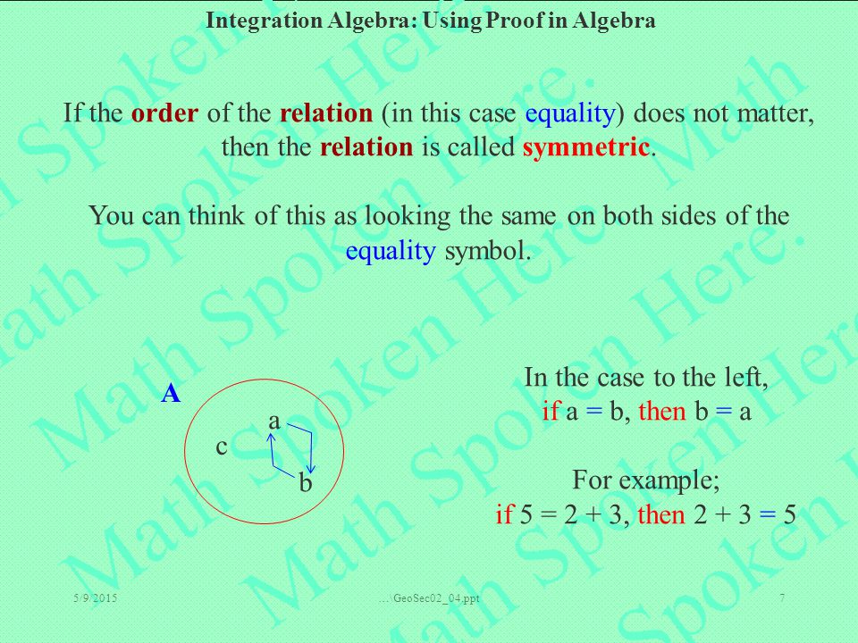 Integration Algebra: Using Proof in Algebra 5/9/2015…\GeoSec02_04.ppt7 If the order of the relation (in this case equality) does not matter, then the