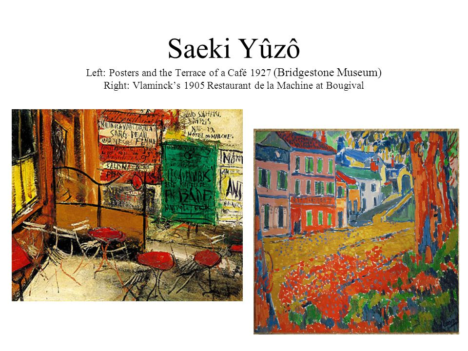Saeki Yûzô Left: Posters and the Terrace of a Café 1927 (Bridgestone Museum) Right: Vlaminck's 1905 Restaurant de la Machine at Bougival