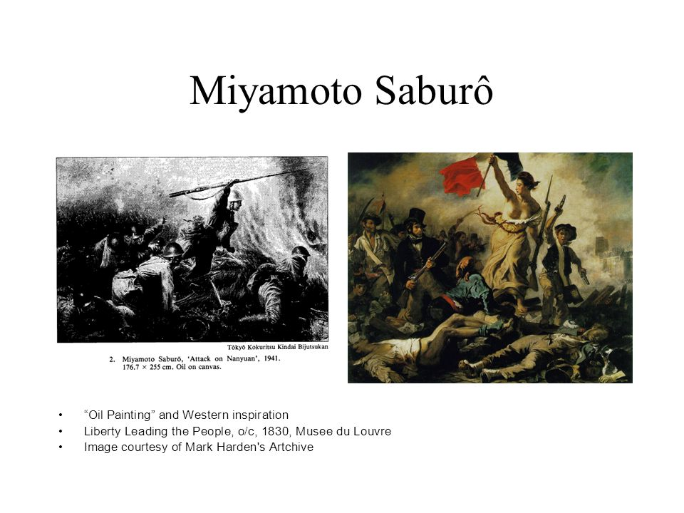 "Miyamoto Saburô ""Oil Painting"" and Western inspiration Liberty Leading the People, o/c, 1830, Musee du Louvre Image courtesy of Mark Harden's Artchive"