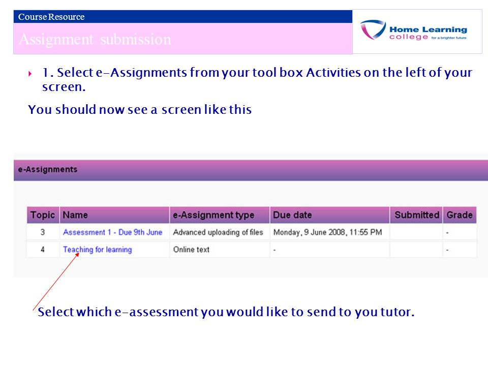Assignment submission Course Resource  1.
