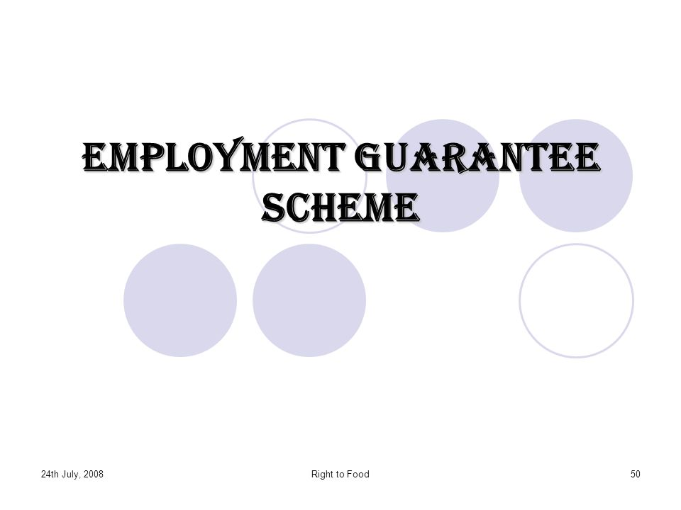 24th July, 2008Right to Food50 Employment Guarantee Scheme