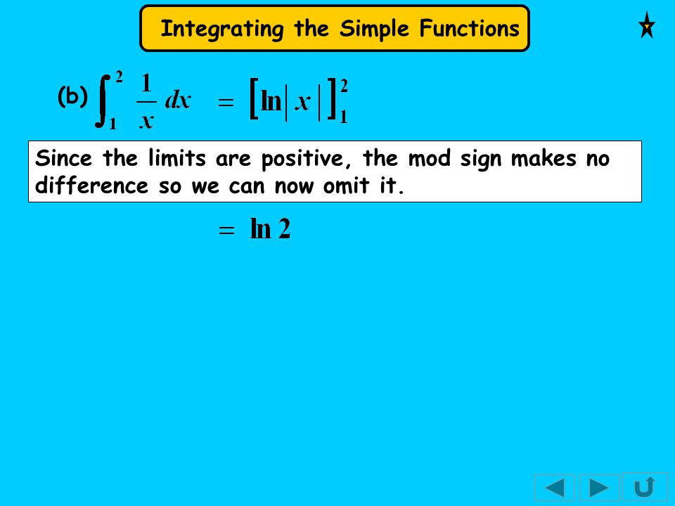 Integrating the Simple Functions (b) Since the limits are positive, the mod sign makes no difference so we can now omit it.
