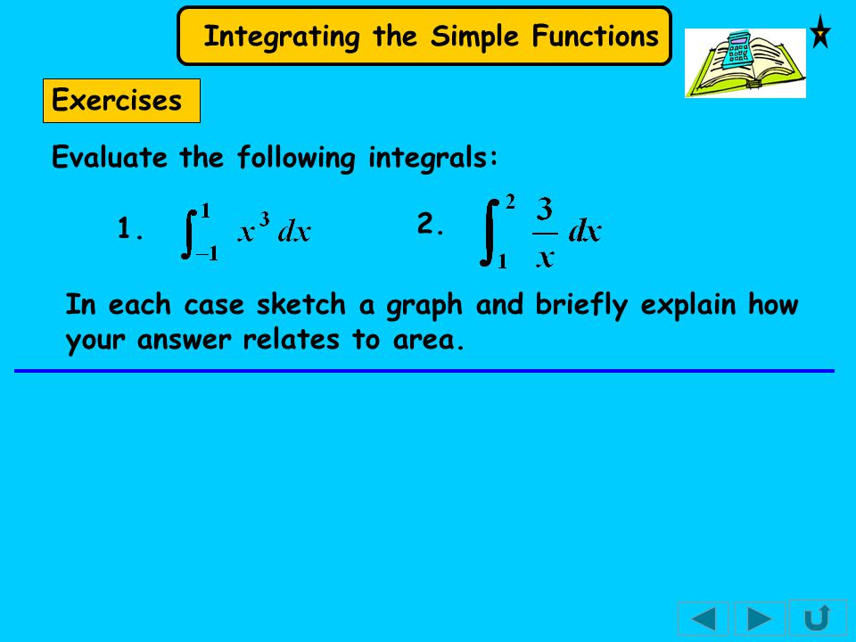 Integrating the Simple Functions Exercises Evaluate the following integrals: 1.
