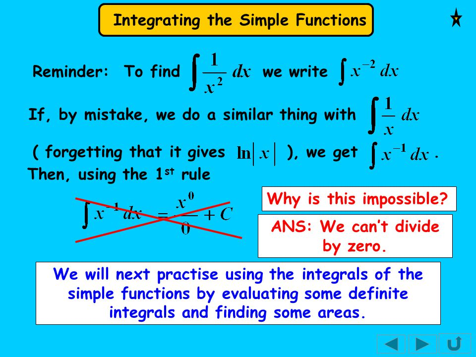 Integrating the Simple Functions We will next practise using the integrals of the simple functions by evaluating some definite integrals and finding some areas.
