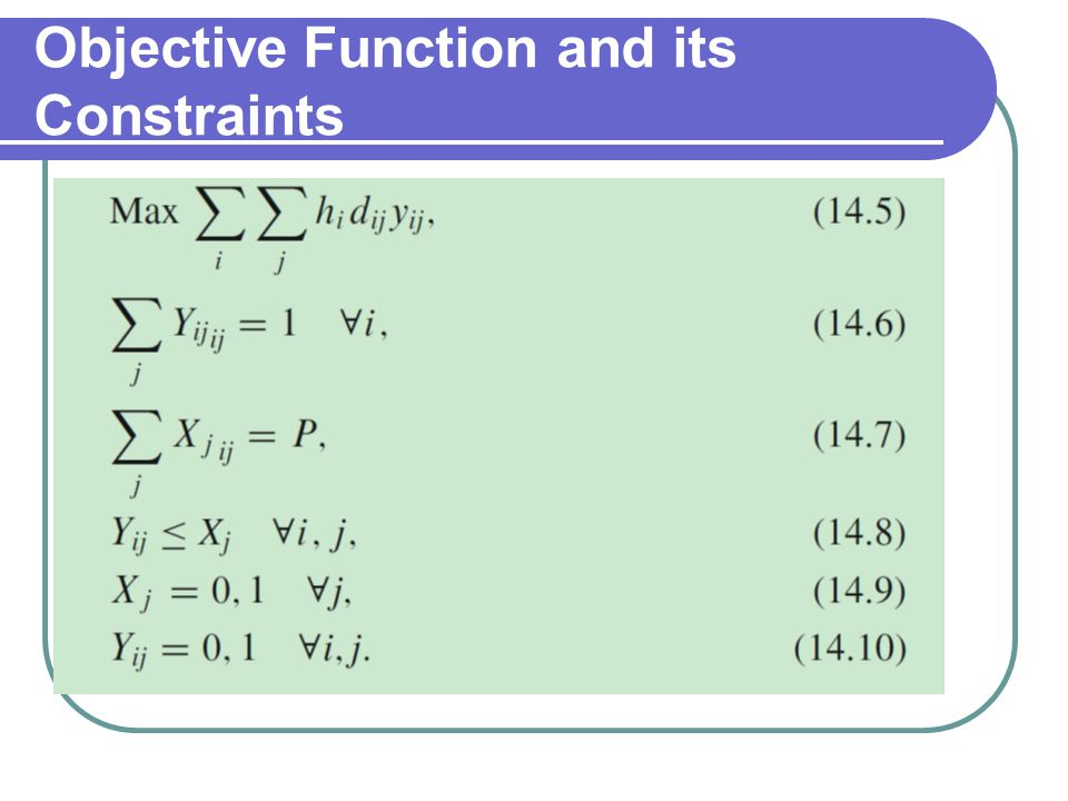 Objective Function and its Constraints