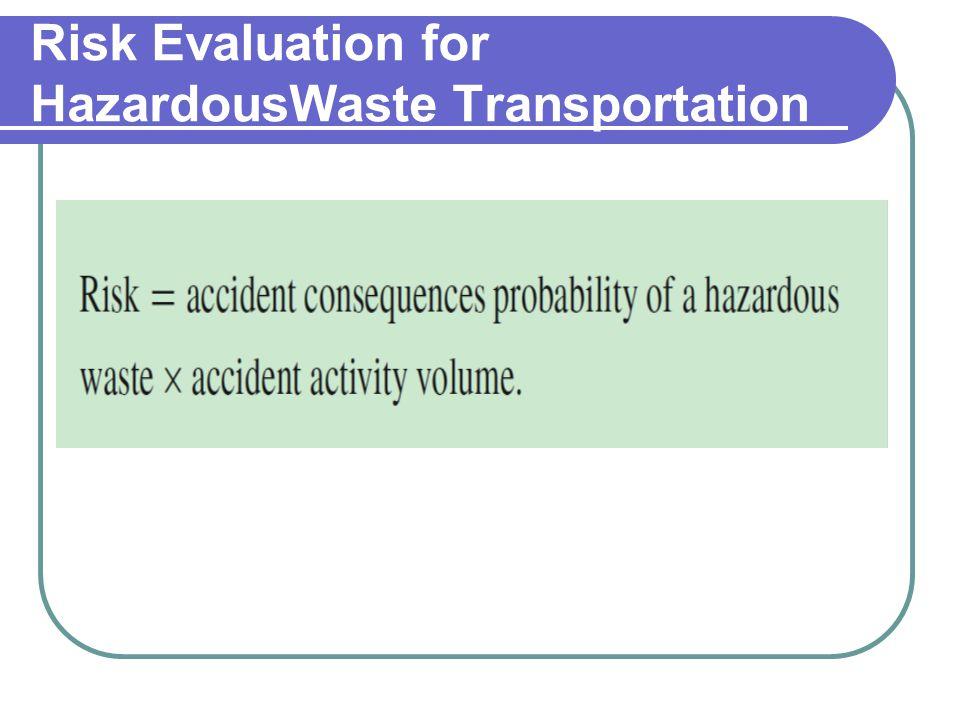 Risk Evaluation for HazardousWaste Transportation
