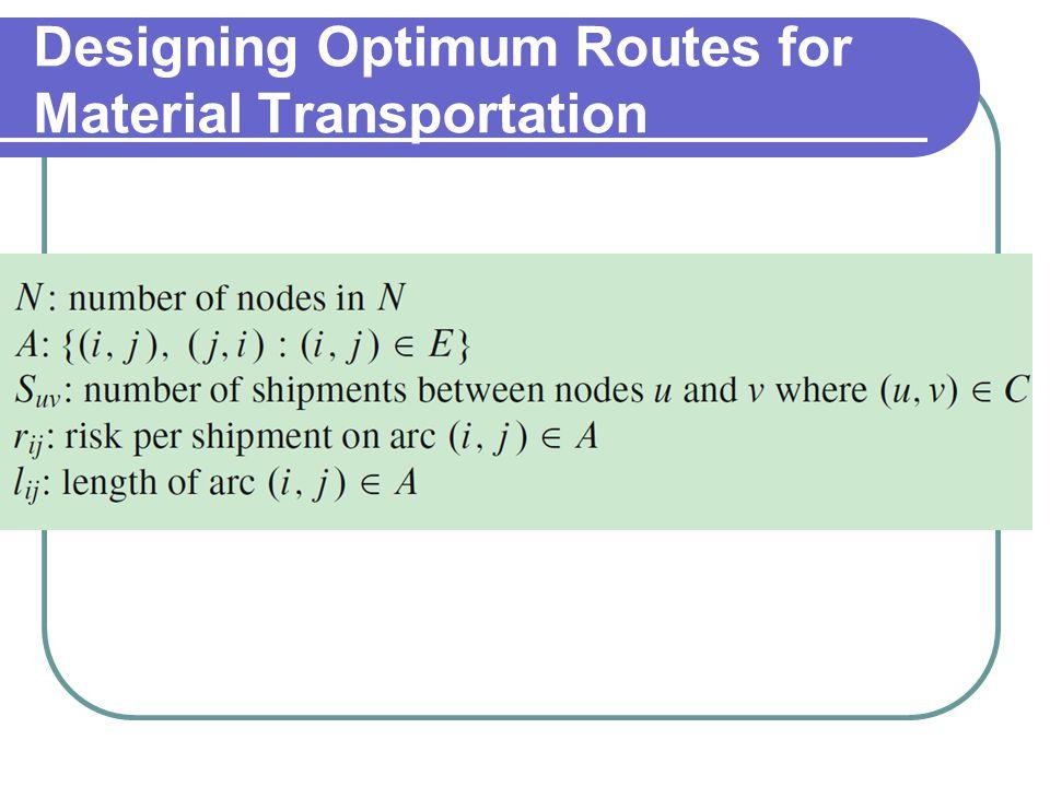 Designing Optimum Routes for Material Transportation