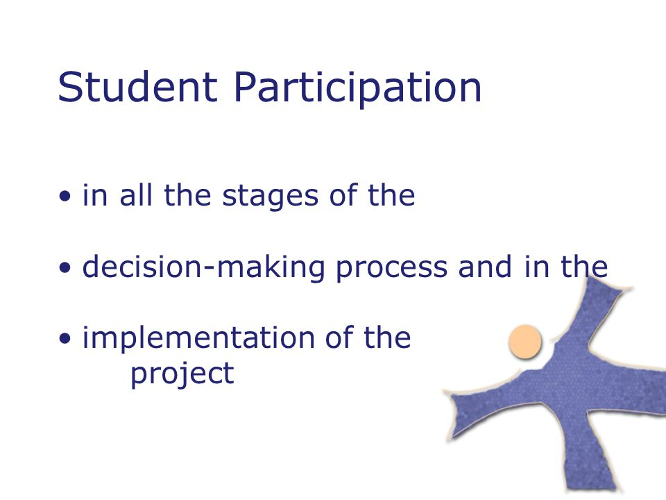 Student Participation in all the stages of the decision-making process and in the implementation of the project