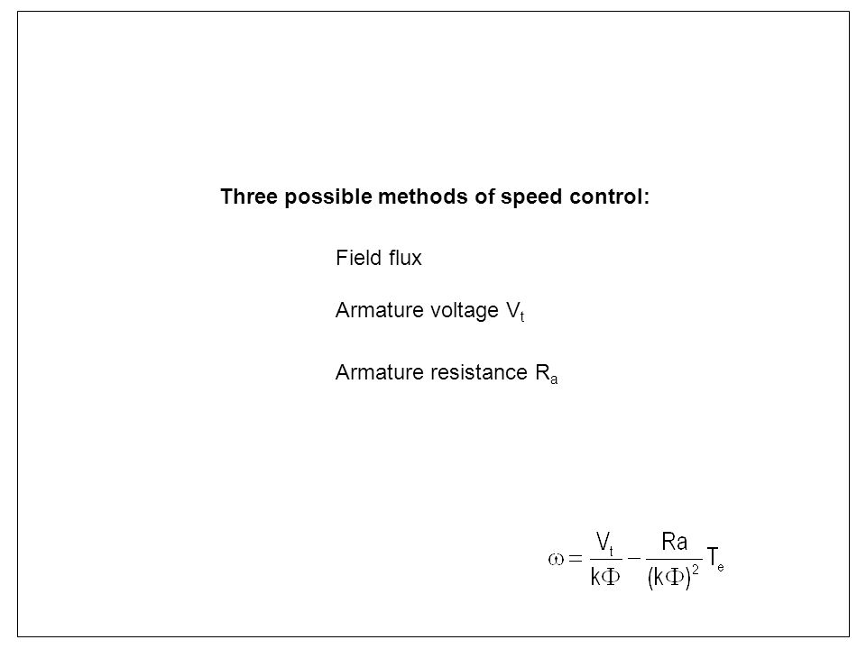 Three possible methods of speed control: Field flux Armature voltage V t Armature resistance R a