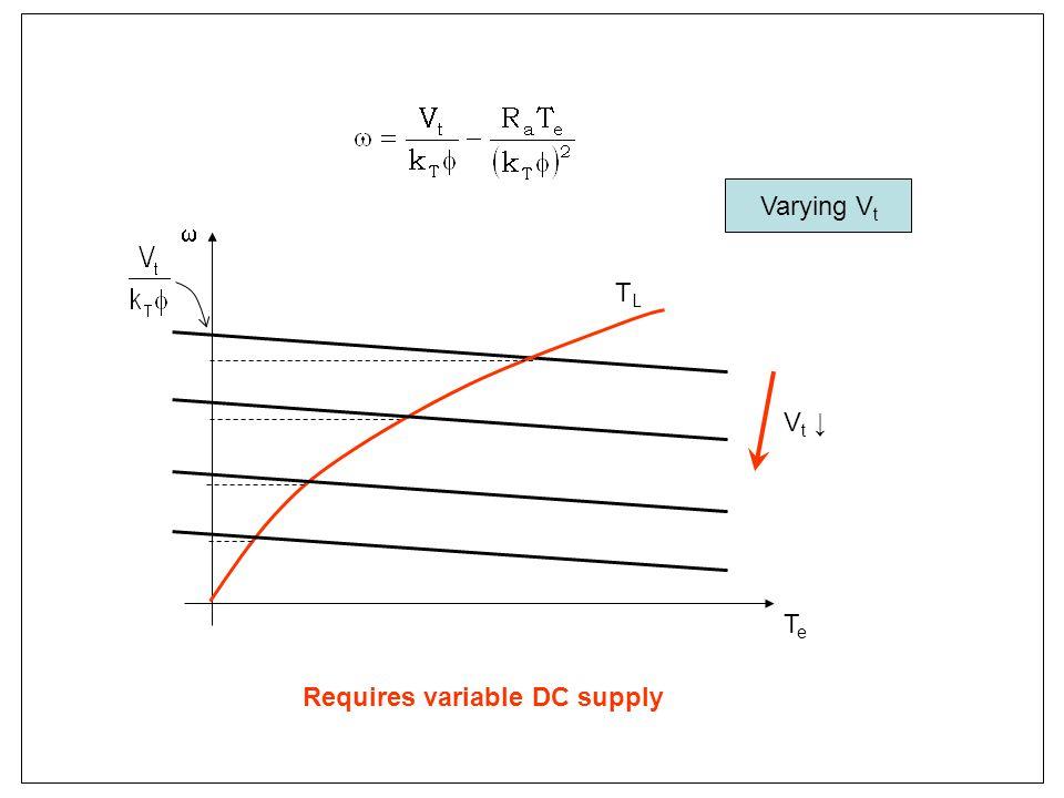 TeTe TLTL Vt ↓Vt ↓ Varying V t Requires variable DC supply