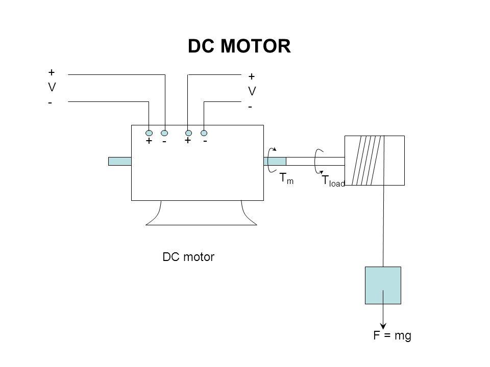 + +- - DC motor +V-+V- +V-+V- F = mg TmTm T load