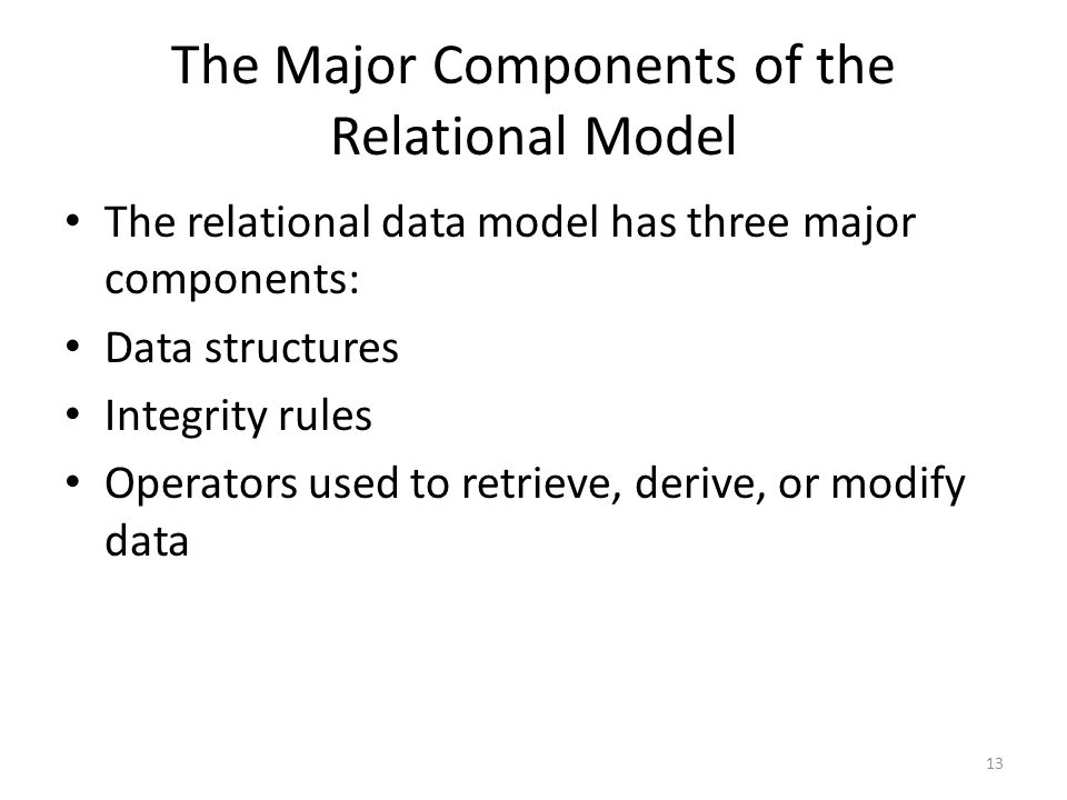 The Major Components of the Relational Model The relational data model has three major components: Data structures Integrity rules Operators used to r