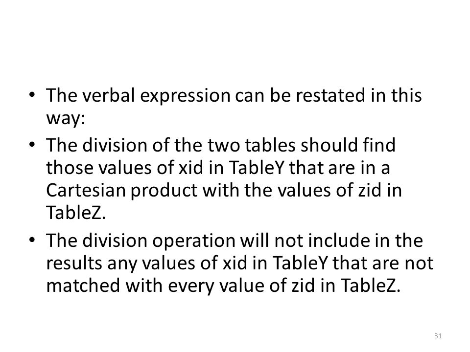 The verbal expression can be restated in this way: The division of the two tables should find those values of xid in TableY that are in a Cartesian product with the values of zid in TableZ.