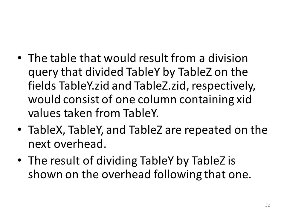 The table that would result from a division query that divided TableY by TableZ on the fields TableY.zid and TableZ.zid, respectively, would consist o