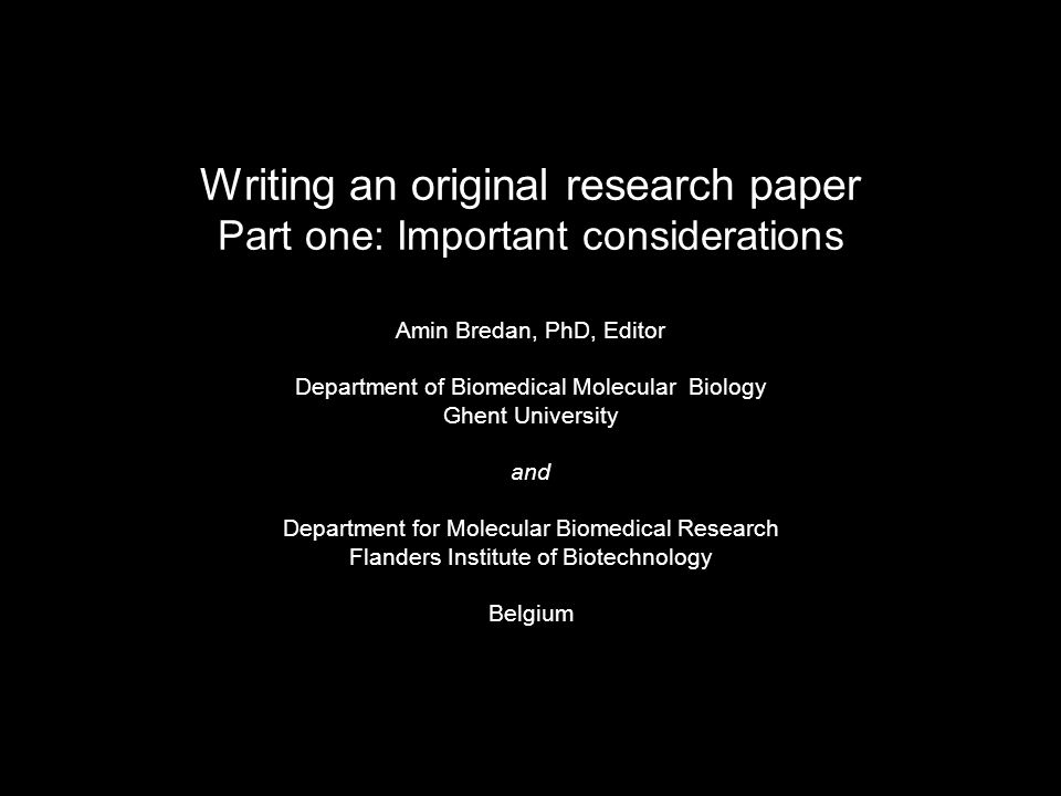 Original research papers