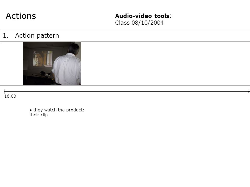1.Action pattern Actions 16.00 Audio-video tools : Class 08/10/2004 they watch the product: their clip
