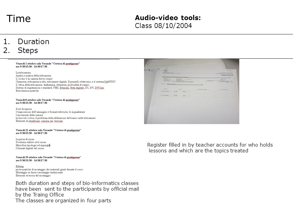1.Duration 2.Steps Time Register filled in by teacher accounts for who holds lessons and which are the topics treated Both duration and steps of bio-informatics classes have been sent to the participants by official mail by the Traing Office The classes are organized in four parts Audio-video tools: Class 08/10/2004