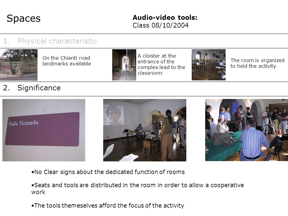 1.Method Teacher 2.Role Audio-video tools: Class 08/10/2004 - Essentially practical and interactive - Basical theoretical introduction continuously explecated by pratical sessions - Two working groups