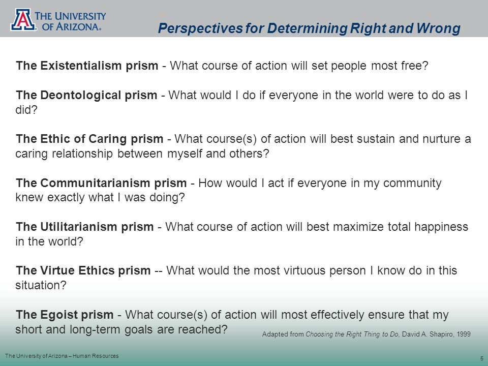 The University of Arizona – Human Resources 5 The Existentialism prism - What course of action will set people most free.