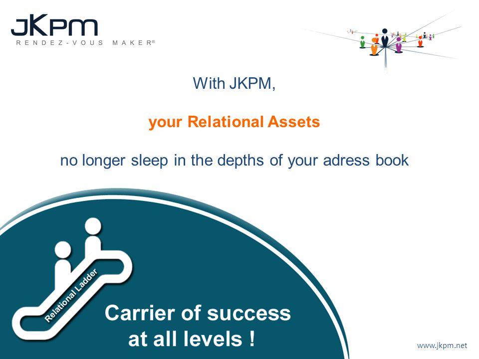 www.jkpm.net Mise à disposition d'un véritable Ascenseur Relationnel avec toutes leurs relations. With JKPM, your Relational Assets no longer sleep in