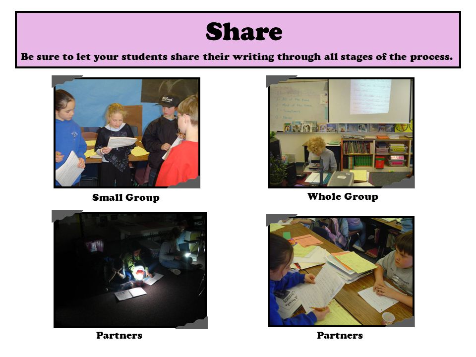 Share Small Group Partners Whole Group Share Partners Be sure to let your students share their writing through all stages of the process.