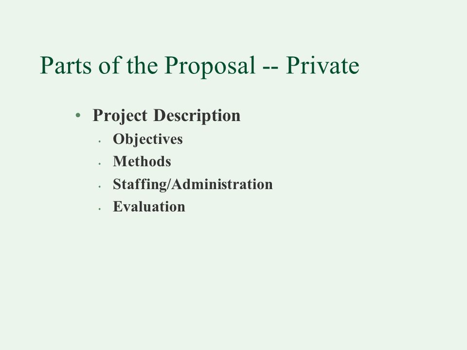 Parts of the Proposal -- Private Project Description Objectives Methods Staffing/Administration Evaluation
