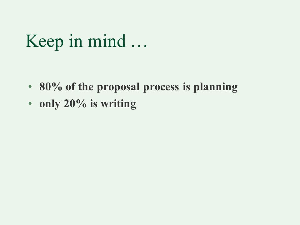 Basic principles of proposal writing Reviewing the Proposal Logic Model Typical parts of the proposal
