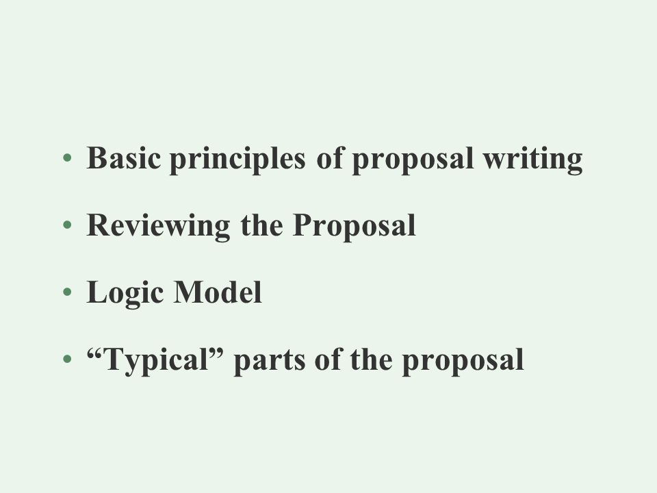 Parts of the Proposal -- Government Typical Parts of the Proposal -- Gov't (con't) Narrative meeting the purposes of the authorizing statute extent of need for the project plan of operation quality of key personnel budget and cost effectiveness evaluation plan adequacy of resources Appendices Certifications