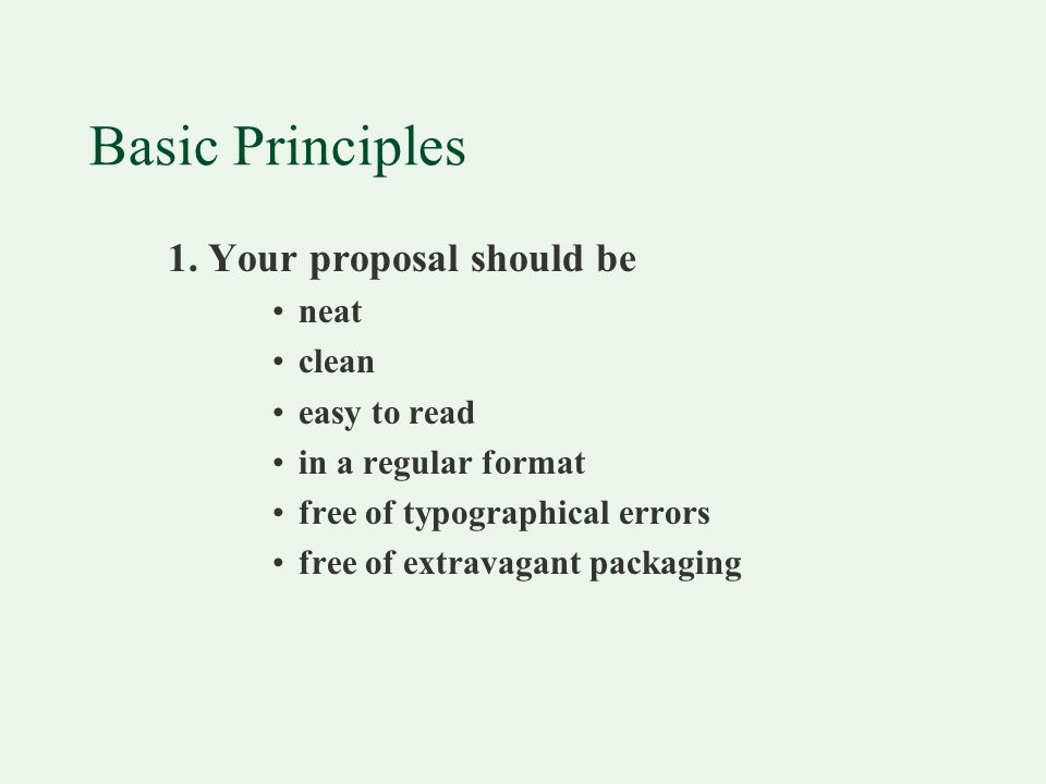 Basic Principles 1.