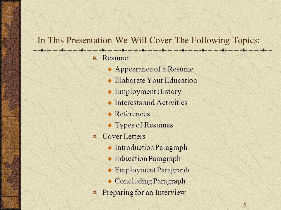 13 Preparing for an Interview The following are some suggestions for preparing for an interview: Study for Interviews There are books and websites dedicated to interviews Study the organization to which you applied Think about what you are offering to the organization Review Lists of common interview questions Compile a list of questions you wish to ask