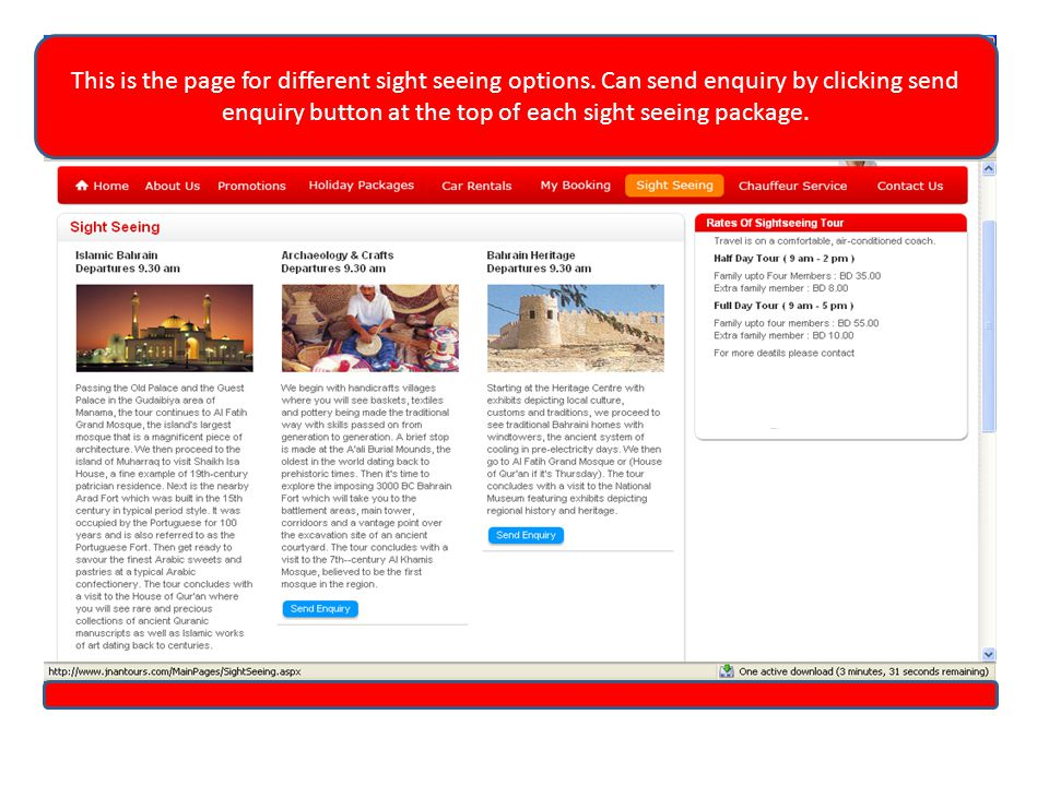 This is the page for different sight seeing options.