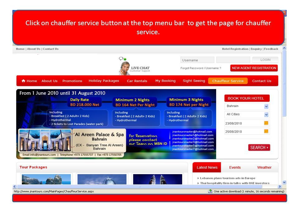 Click on chauffer service button at the top menu bar to get the page for chauffer service.