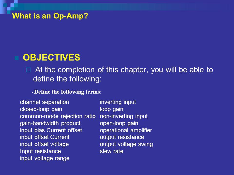 Objective cont.Interpret a typical op-amp data sheet.