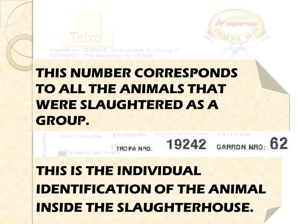 THIS IS THE EXPIRY DATE OF THE PRODUCT, WHEN SOLD CHILLED. THIS NUMBER CORRESPONDS TO ALL THE ANIMALS THAT WERE SLAUGHTERED AS A GROUP. THIS IS THE IN