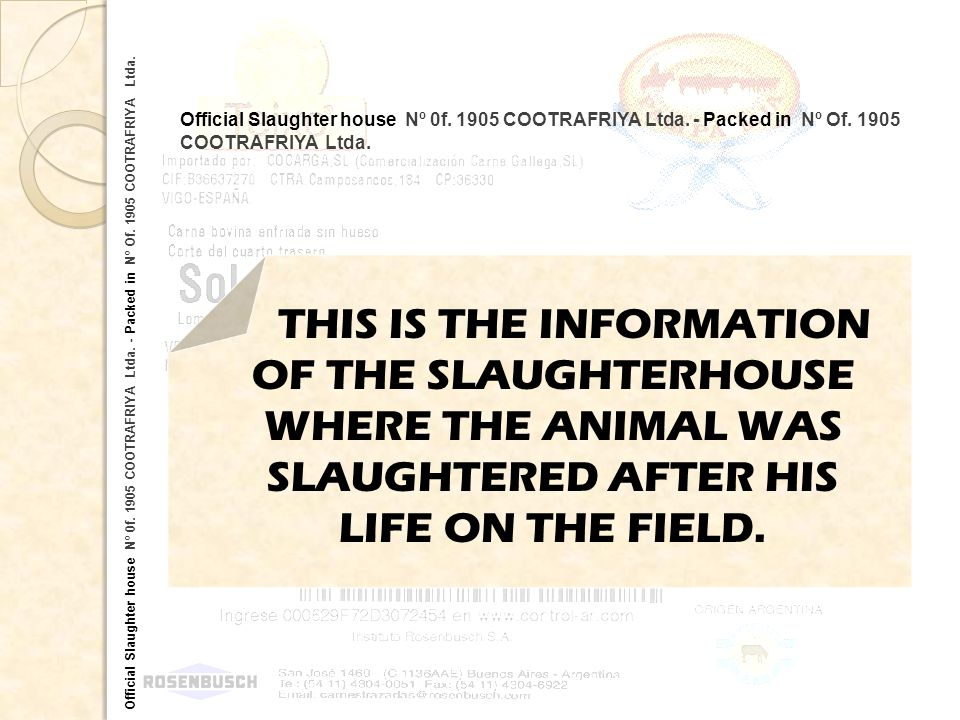 Official Slaughter house Nº 0f. 1905 COOTRAFRIYA Ltda. - Packed in Nº Of. 1905 COOTRAFRIYA Ltda. THIS IS THE INFORMATION OF THE SLAUGHTERHOUSE WHERE T