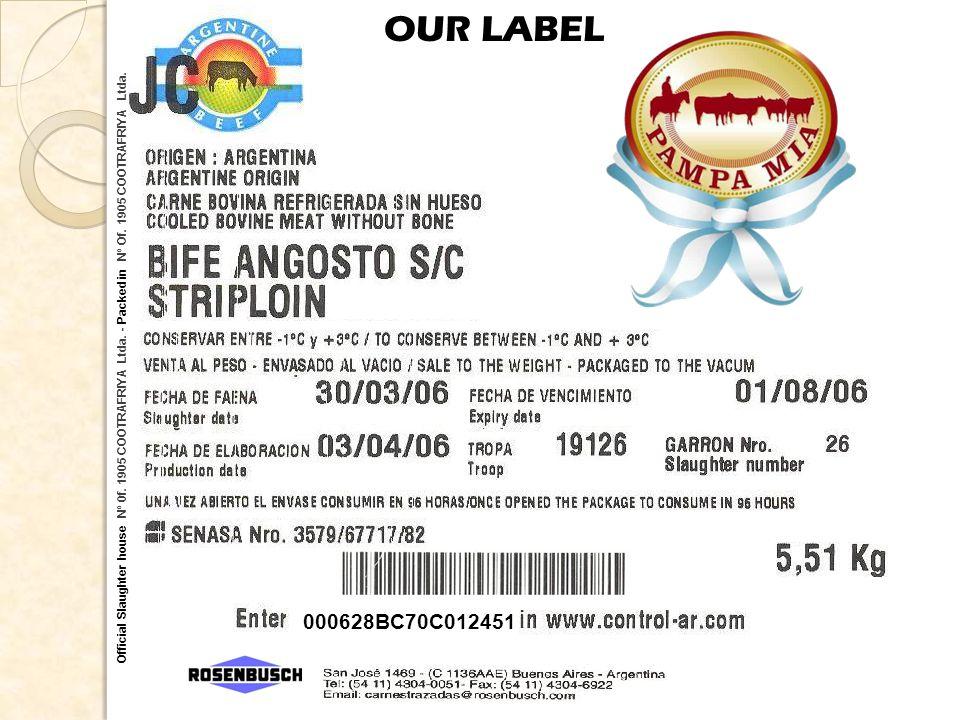 Official Slaughter house Nº 0f. 1905 COOTRAFRIYA Ltda. - Packed in Nº Of. 1905 COOTRAFRIYA Ltda. OUR LABEL 000628BC70C012451