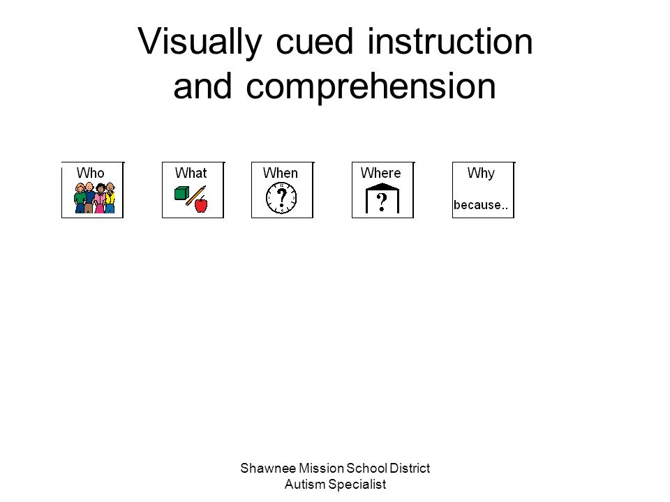 Shawnee Mission School District Autism Specialist Visually cued instruction and comprehension