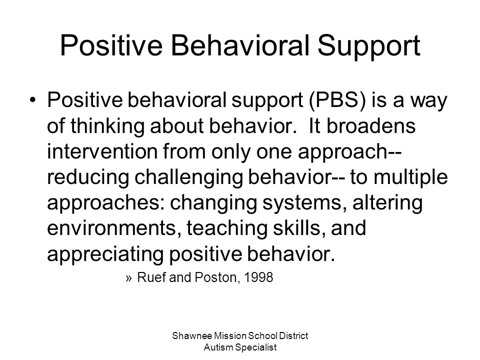 Shawnee Mission School District Autism Specialist The Top Five Strategies Visual Supports Work Systems Communication Positive Behavior Supports Environmental Structures