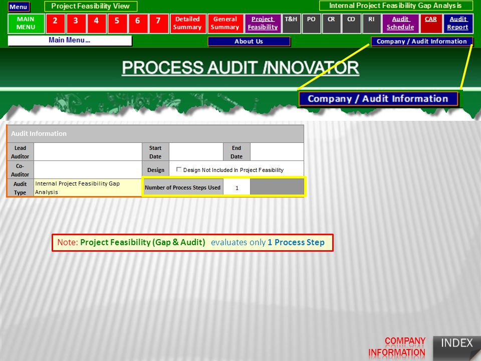 Note: Project Feasibility (Gap & Audit) evaluates only 1 Process Step