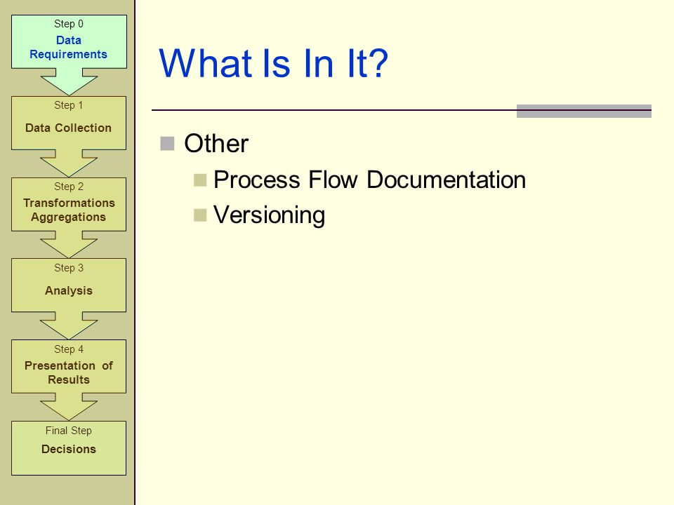 What Is In It? Other Process Flow Documentation Versioning Step 2 Transformations Aggregations Step 3 Analysis Step 4 Presentation of Results Step 1 D