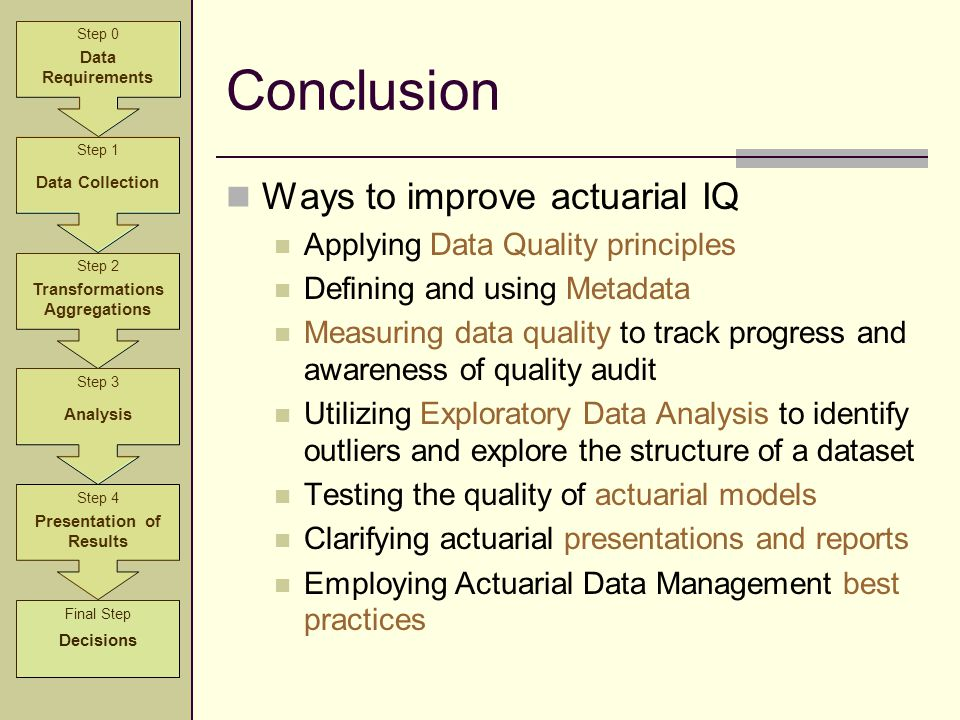 Conclusion Ways to improve actuarial IQ Applying Data Quality principles Defining and using Metadata Measuring data quality to track progress and awar